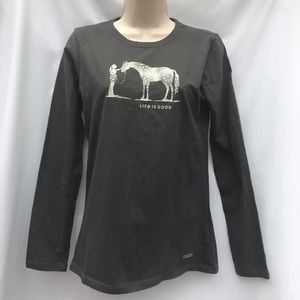 LS Life is Good Crusher T-shirt Female with Horse